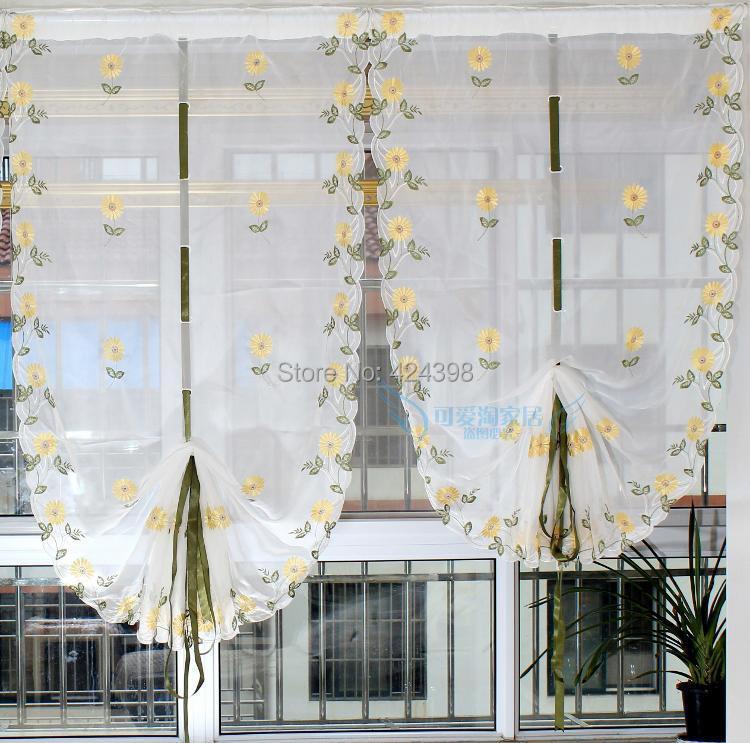 Rustico palloncino tende per le finestre qualità del ricamo sheer ...