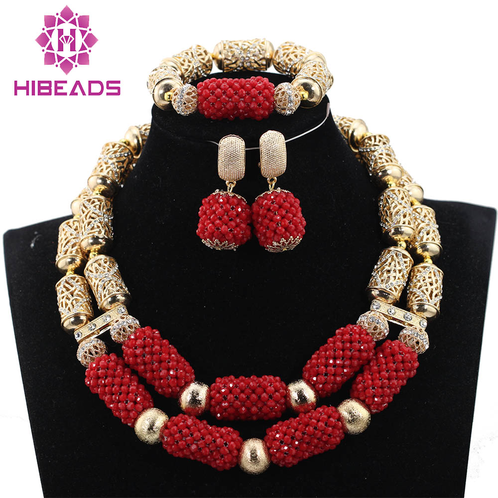 Fantastic Dubai Gold Bridal Statement Necklace Set Red African Beads Jewelry Sets Crystal Beads Wedding Jewelry QW1076