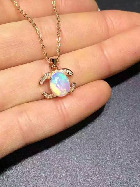 natural opal pendant S925 Sterling silver Natural amethyst Pendant Necklace trendy Elegant phiz women girl jewelry