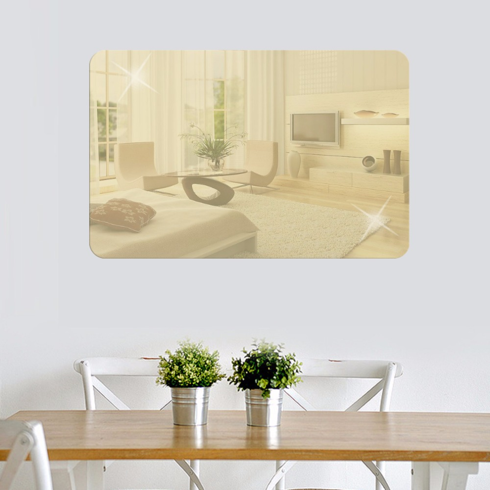2 Colors Rectangular Mirror Wall Stickers Living Room Bedroom TV ...