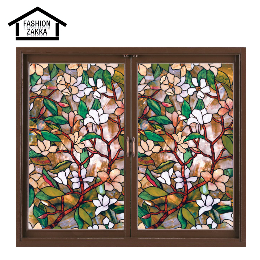 European church style 45 100 cm magnolia stained glass for Window glass styles