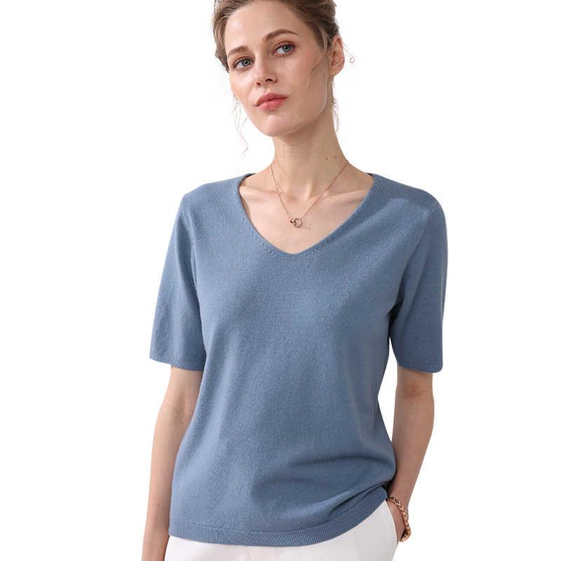 หัวใจไก่ V คอเสื้อกันหนาวชุดฤดูใบไม้ผลิ 2019 ใหม่แขนหลวมแขนสั้นถักเสื้อด้านล่างสำหรับฤดูใบไม้ผลิเสื้อกันหนาว