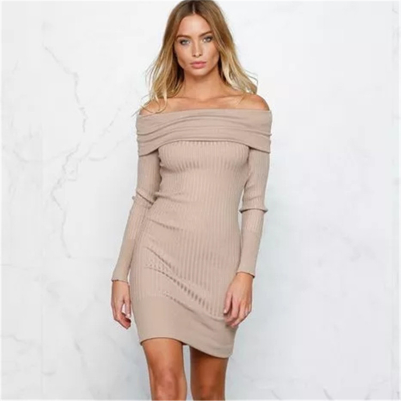 2016 Autumn New Casual Vintage Sexy Bodycon Slim Elegant Slash Neck Off Shoulder Long Sleeve Women Short Knitted Dress