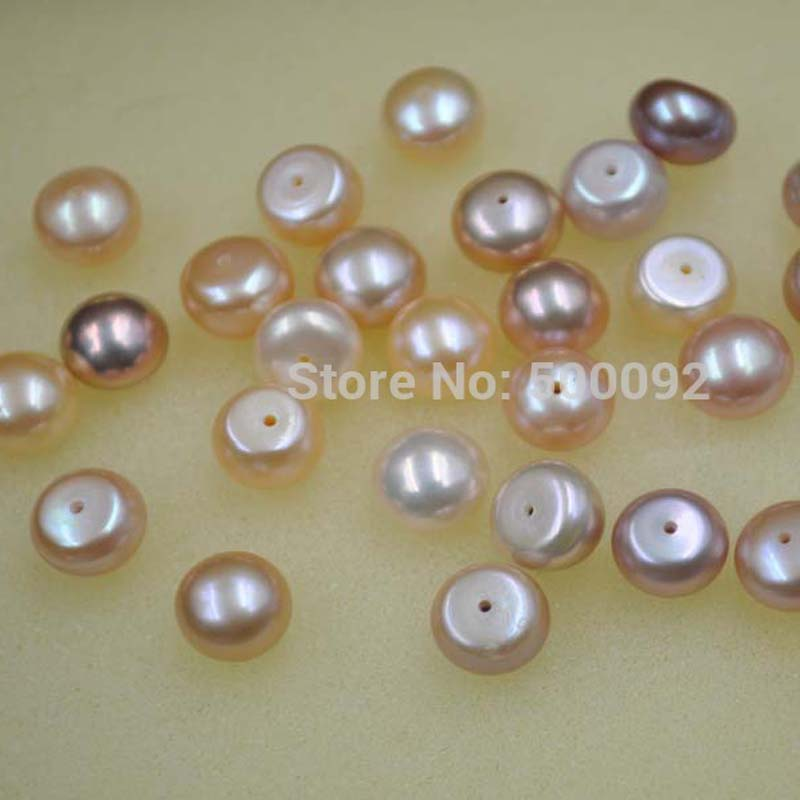 wholesale 50 pcs 9-10mm mix natural color button drilled cultured pearl
