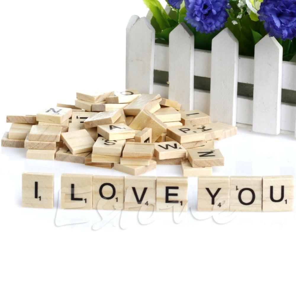 100pcs Wooden Alphabet Scrabble Tiles Black Letters /& Numbers For Crafts CF