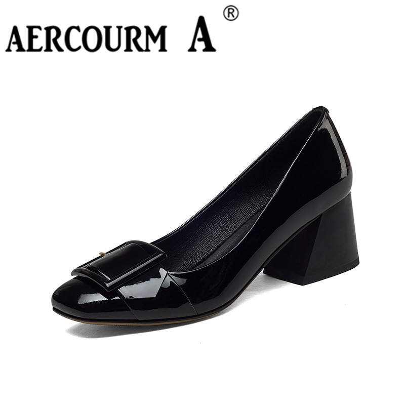 Aercourm A Women Shoes 2017 Spring New Genuine Leather High-Heeled Shoes Square Toe Shallow Mouth Single Shoes High Heels H815 women crude with a single shoe shallow mouth high heeled shoes 2018 new fashion lady shoes for women high heeled shoes spring 39