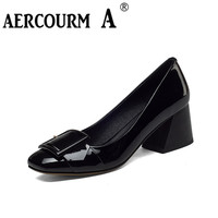 Aercourm A Women Shoes 2017 Spring Summer New Genuine Leather High Heeled Shoes Square Toe Shallow