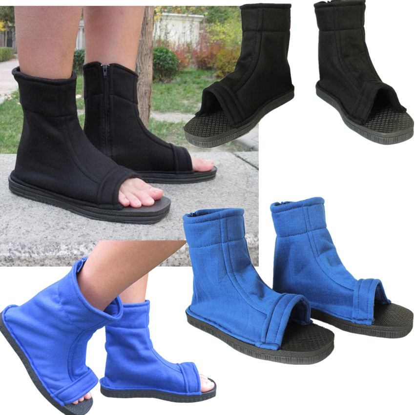 Anime Naruto Konoha Ninja Village Black Blue Sandals Boots Cosplay Costumes Shoes
