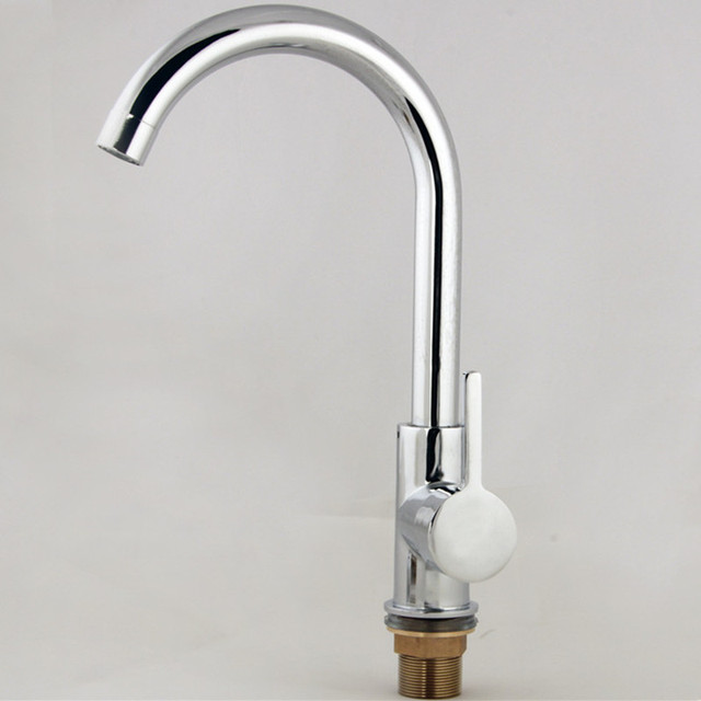 Free shipping Hot selling Zinc alloy kitchen sink faucet with single handle single hole polished chrome kitchen water faucet