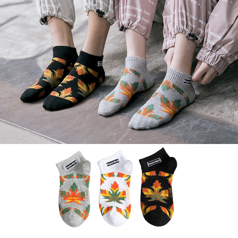 Men's Socks Maple Leaf Harajuku Hip Hop Funny Comb Cotton Men's Cartoon Comfort Cool Socks Funny Socks Men's Skateboard Socks