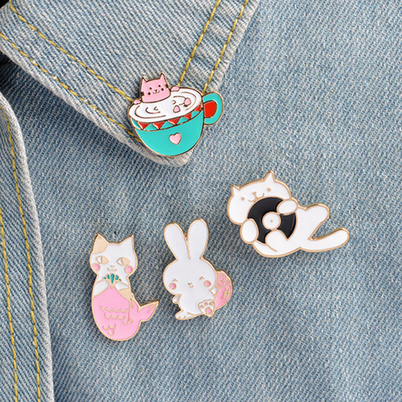Steady 1 Pcs Cartoon Cute Animal Cat Rabbit Metal Brooch Button Pins Denim Jacket Pin Jewelry Decoration Badge For Clothes Lapel Pins Home & Garden