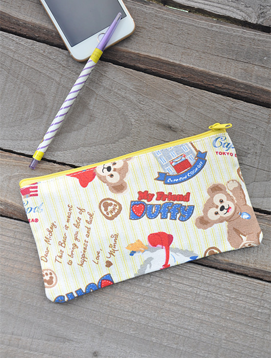 IVYYE 1PCS Duffy ShellieMay Bear Anime Cosmetics Bags Canvas Zipper School Pencil Case Storage Pen Bag Pouch Stationery New