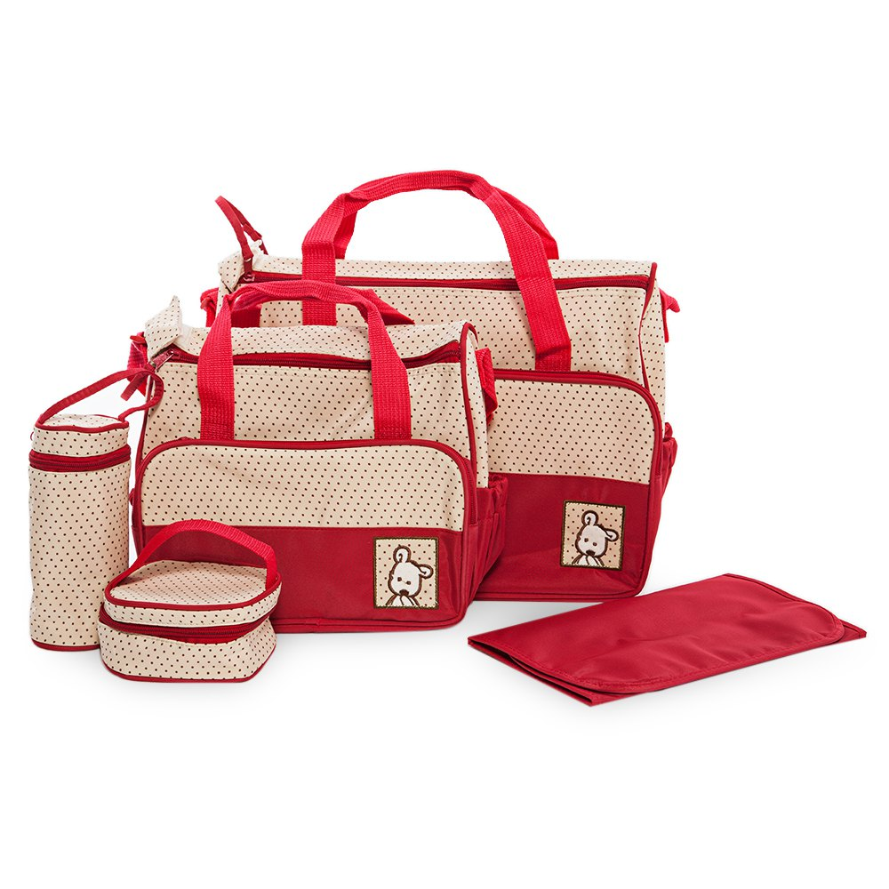 5 In 1 Diaper Bag Set Baby Changing Maternity Infant Stuff Storage Tote Nappy Bags Mummy Storage Bags Fashion Baby Stroller Bags