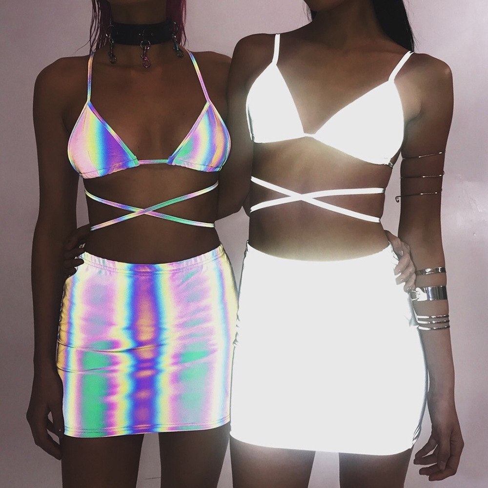 reflective skirt set sexy 2 piece set Solid color sleeveless women spaghetti straps Party outfits neon Casual fashion 2019