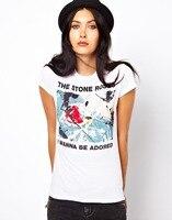 2016夏原宿tシャツ女性は石の バラ プリント ロゴ tシャツ ファム セクシー camiseta カジュアル tシャツ プラス サイズ xs-xxl