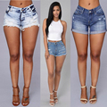 High Quality 2016 Summer New Sexy Slim Skinny Ripped Hole Washed High Waist Women Denim Mini Beach Shorts Jeans Plus Size