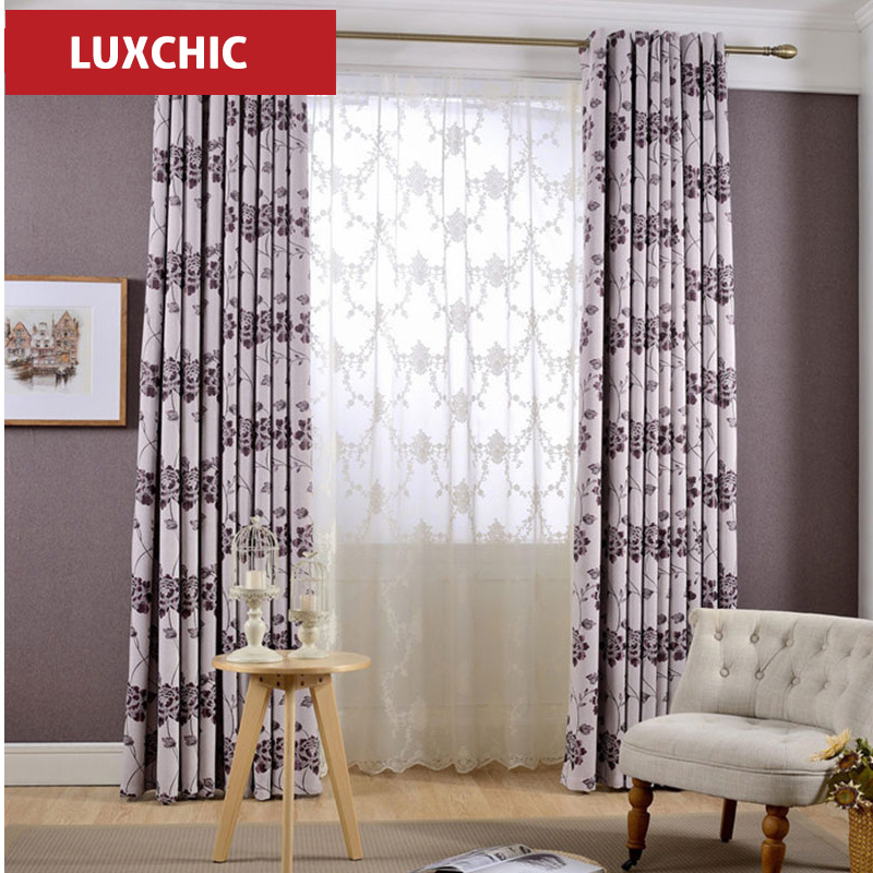 Luxury Rustic Pink Ceiba Printed Cotton Linen font b Curtains b font for Living Room Modern