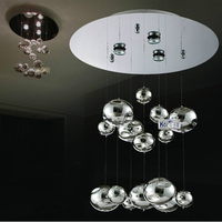 H40cm Murano Due Bubble Glass Ceiling light Chrome Lustres lamps Home Hanging Lamps Fixtures 110 240V GU10 LED ceiling lamp