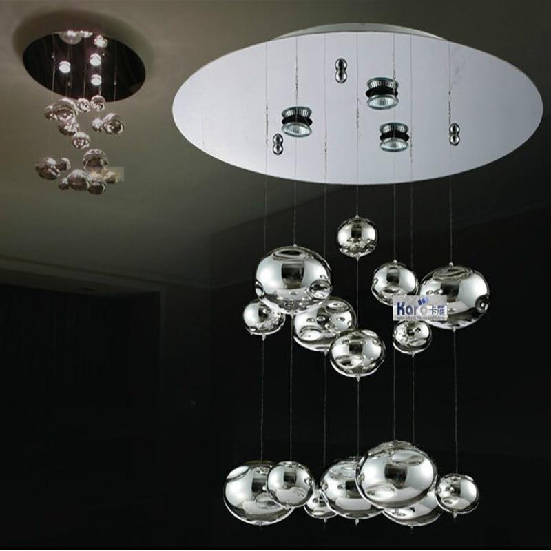 2f1a85e3922 H40cm Murano due burbuja de cristal luz de techo cromo lustres Lámparas  casa colgante Lámparas lámparas 110-240 V gu10 led lámpara de techo