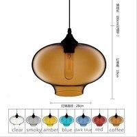 D28cm H20cm colorful Glass LED Pendant lights Lamp kitchen dining room cafe shop glass nordic suspension Edison hanging light