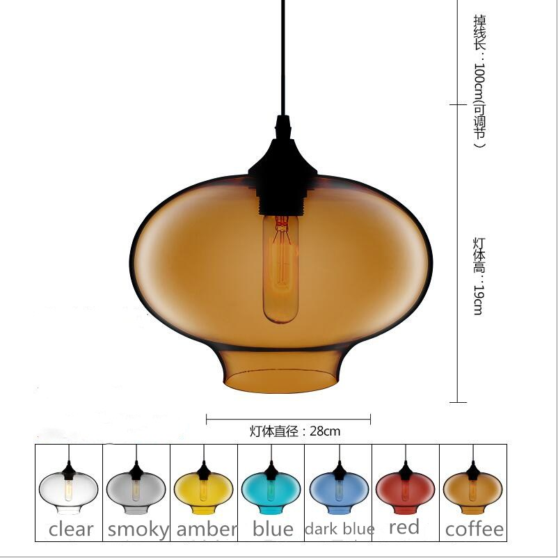 D28cm H20cm colorful Glass LED Pendant lights Lamp kitchen dining room cafe shop glass nordic suspension Edison hanging light factory cheap amber smoky gray red coffee blue glass pendant lamp pendant light edison bulb bedroom dining room cafe kitchen bar