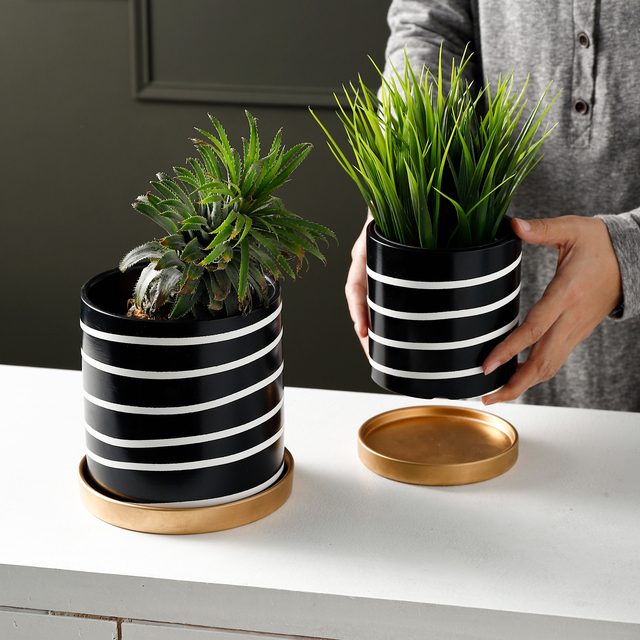 Nordic Black and White Striped Ceramic Flowerpot Succulents Pot Plant Pot with Tray Home Office Christmas New Year Decoration 3