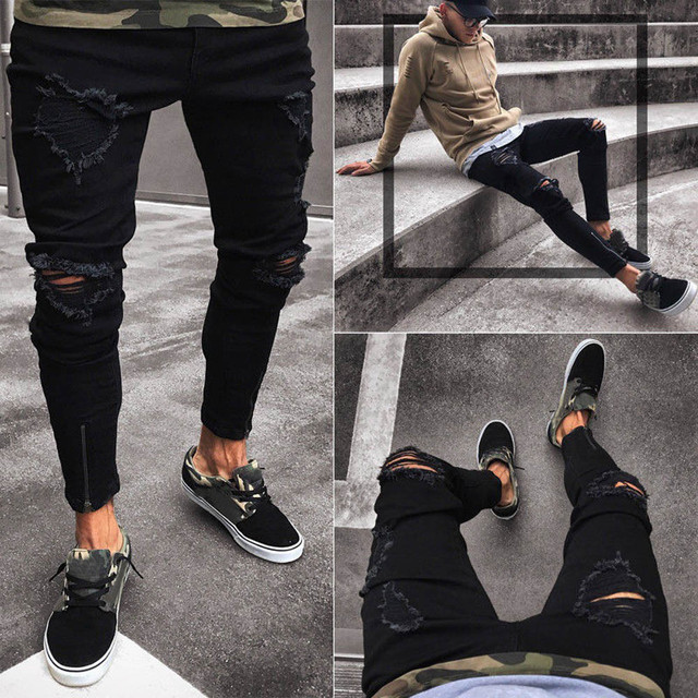 f92d3f67236 New Ripped Jeans for Men Slim Biker Zipper Denim Jeans Skinny Frayed Pants  Distressed Rip Trousers 2019 Casual Black Jeans