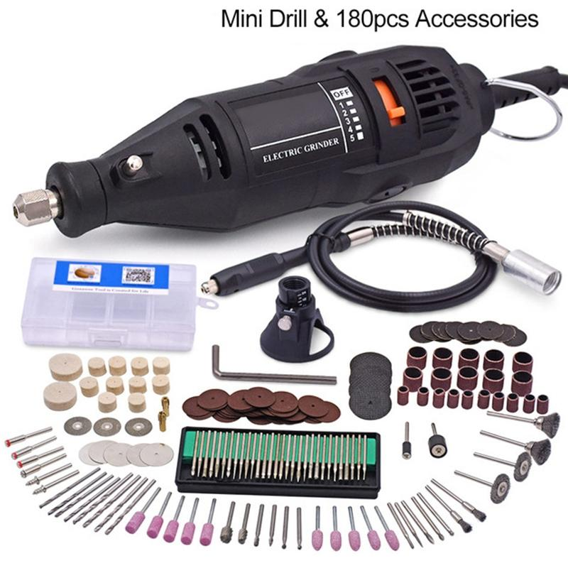 Mini Electric Drill For Dremel Speed Electric Rotary Tools 180Pcs Accessories 130W Mini Grinder with Flexible Shaft Power Tools 2017 new anti slip women winter martin