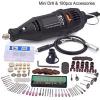 Mini Electric Drill For Dremel Speed Electric Rotary Tools 180Pcs Accessories 130W Mini Grinder With Flexible