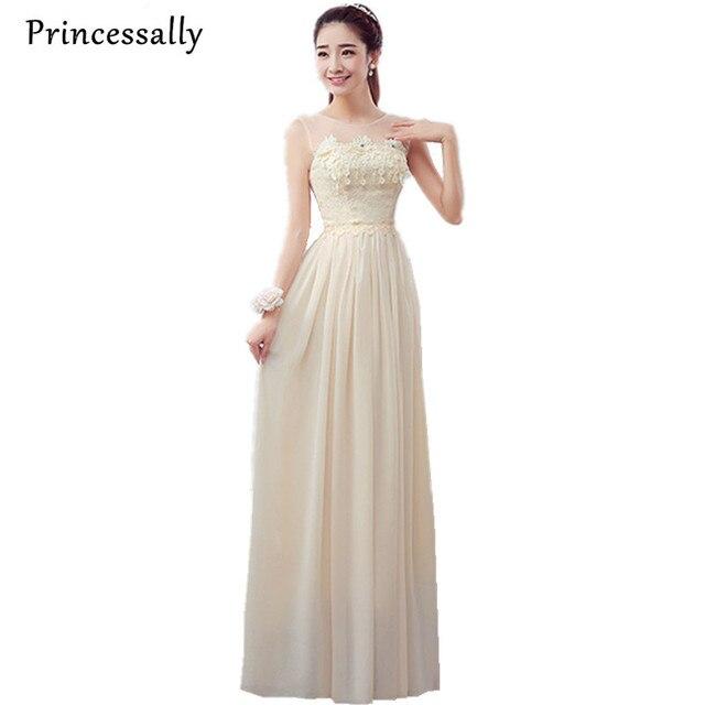 Chiffon Bridesmaid Dress Long Champagne Lace Sleeveless Elegant Robe Femme  Purple Cheap Prom Party Formal Gown robe de soiree 99defe1c172c