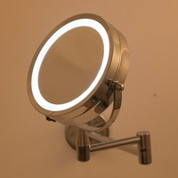 Bath Mirror Led Cosmetic Mirror 1X 3X Magnification Wall Mounted Adjustable Makeup Mirror Dual Arm Extend