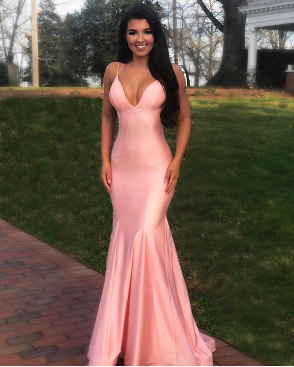 f6ffabc26ad 2019 Pink Mermaid Satin Long Prom Dresses With Spaghetti Straps Sexy Deep V  Neck Open Back