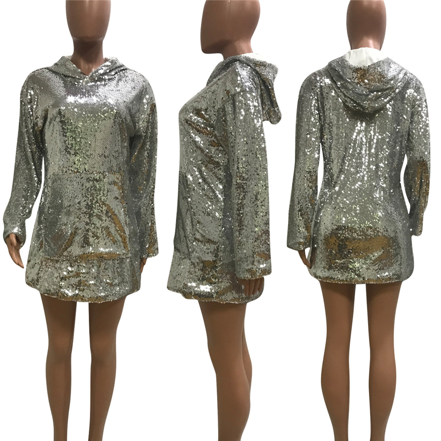 GuyuEra African Dress For Women European and American Women's Nightclub Long-sleeved Sequins Loose Hooded Hooded Dress (4)