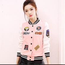 Pink women's college baseball jackets harajuku style short coats outerwear casaco jaqueta bomber women varsity jackets AW500