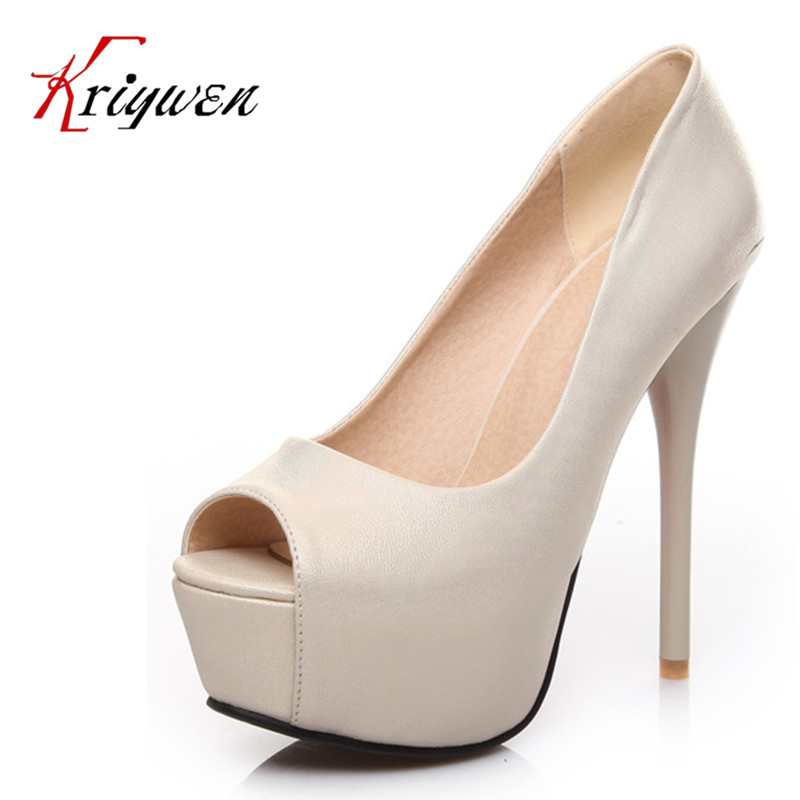 Brand 2016 Pu artificial leather Womens plus 14cm heels Shoes Luxury Designer peep toe Wedding platforms club woman pumps - Kriywen Store store