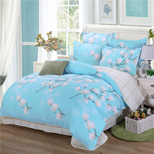 duvet cover spring bedding AB side bed set (duvet cover+flatsheet+2pillowcase) 4pcs bedding set Pastoral bedcloth Adult home bed