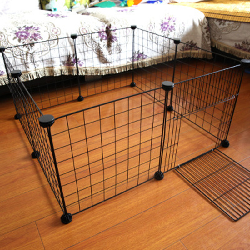 Portable Pet Playpen DIY Small Animals Metal Wire Crate Kennel Pet Fence Safe Guard Bunny Cage For Puppy Rabbit Pen Exercise