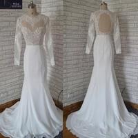 Elegant Robe De Mariee Vintage Mermaid Wedding Dress Long Sleeves Top Sheer Lace Embroidery Chiffon White Backless Bridal Gown