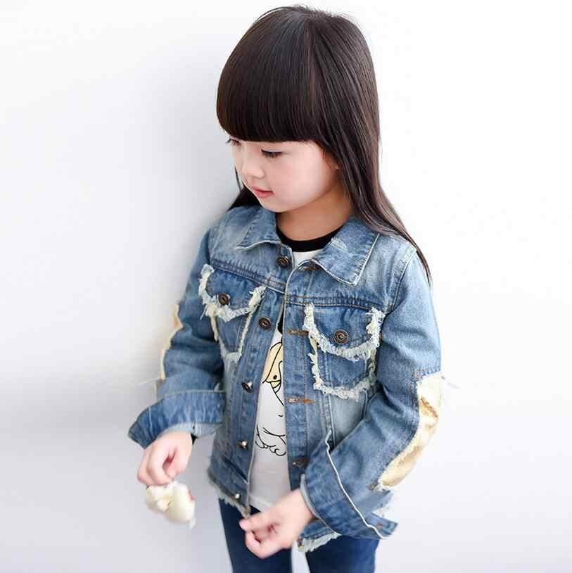 51df26f9bd4c5e ... Brand Baby Girls Hole Denim Jackets Coats Fashion Children Outwear Coat  Sequins Little Girl Design Girls ...