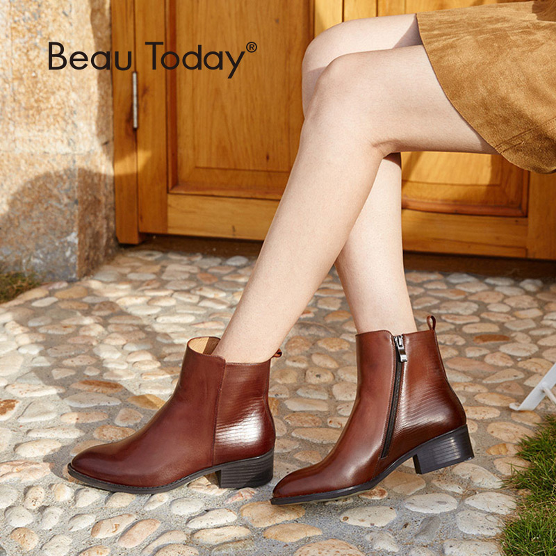 BeauToday Boots Women Zipper Brand Genuine Leather Calfskin Pointed Toe Quality Ankle Boot Lady Shoes Handmade