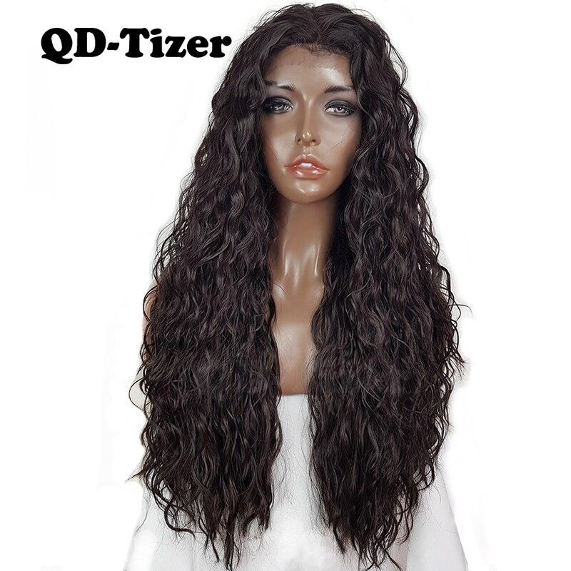 КТ-тизер длинные передние парики шнурка свободные локон темно-коричневый Цвет #4 волосы синтетические кружева парик жаропрочных волокно