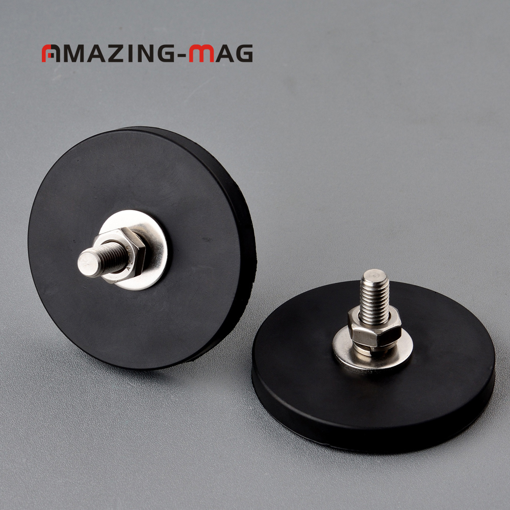 2PC 28KG Powerful Neodymium Magnet Disc With Rubber Costed D66*8.5mm M8 Thread Anti-scratch LED Light Camera Car Mount Magnet