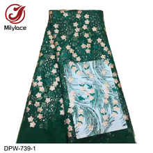 купить 5yards High Quality Nigerian French Lace Sequins Embroidered Tulle Lace Fabric for Wedding Dress2019 African Lace Fabric DPW-739 онлайн