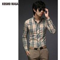 Mens Shaper Slim Fit Casual Blouse Grid Neckline Stylish Long Sleeve Shirt Turn Down Collar Men