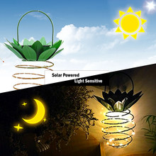 Solar Light DC2V 0.08W 25LED Pineapple Solar Powered Energy Hanging Fairy Light Outdoor Lamp 2 Pack Waterproof for Garden Yard(China)