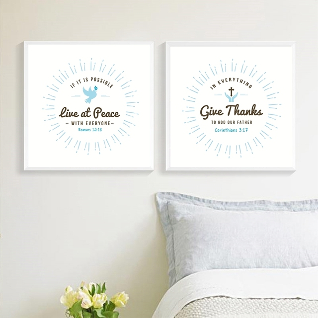 Love Peace Give Thanks Quote Canvas Prints Poster Home Living Room Bible  Verse Wall Art Painting Part 96