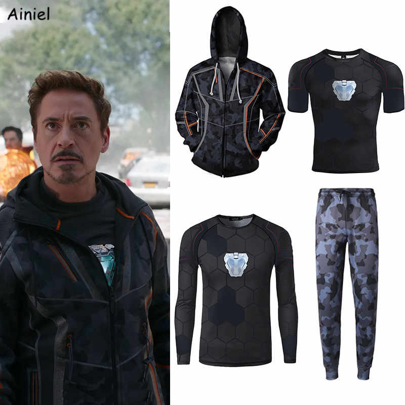 Sweat à capuche Cosplay fer homme deguisement manteau pull manches courtes T-shirt pantalon hommes Tony Stark sweat à capuche sweats Halloween