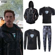 hoodie Cosplay Iron Man Costume Coat Sweater Short Sleeves T shirt pants Men Tony Stark Hoodie Sweatshirts Halloween