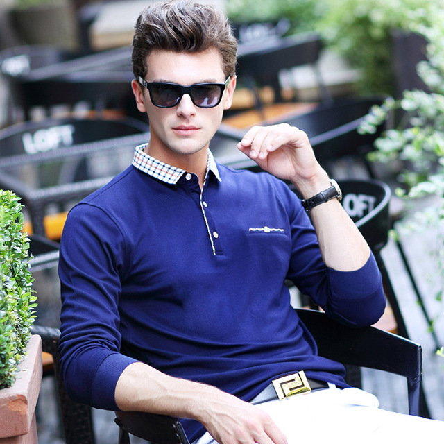 Марка POLO Shirt 2017 Новый Мужчины Досуг Бизнес С Длинным Рукавом Polo Рубашки Высокого Качества Сплошной Цвет мужская Мода