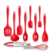 2019 New Complete Silicone Kitchen Utensil Set 10 piece Durable and Non-Stick Cooking Tool Sets